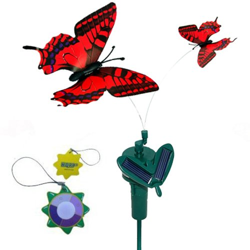 HQRP Twin Solar Butterfly Flying Fluttering Powered by Sun or AA Battery for Outdoor decor + HQRP UV Chain (Red Swallowtail) Review