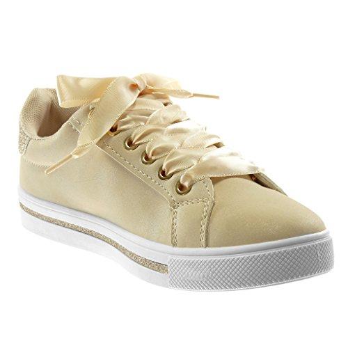 Sneaker Angkorly Stella cm Raso Piatto Tennis 3 Paillette Chic Sporty Beige Donna Lacci in Tacco Tacco Moda Scarpe EASwqAH