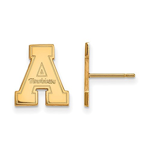 10k Yellow Gold LogoArt Official Licensed Collegiate Appalachian State University (ASU) Small Post Earrings by LogoArt