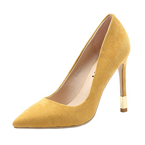 for Heel Yellow On Stiletto High Pumps Party Slip Pointed Womens Wedding Vivi n8qZOEwW7x