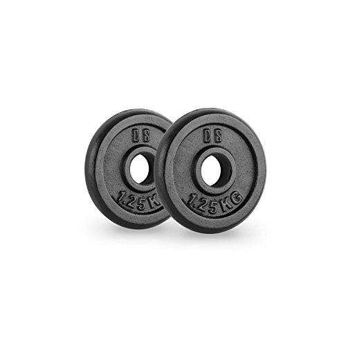 CapitalSports Capital Sports IPB 1.25 Pareja de Discos para mancuerna Gimnasio (par 30mm 1,25 kg Cada uno, película Protectora Negra, terminación Hierro ...