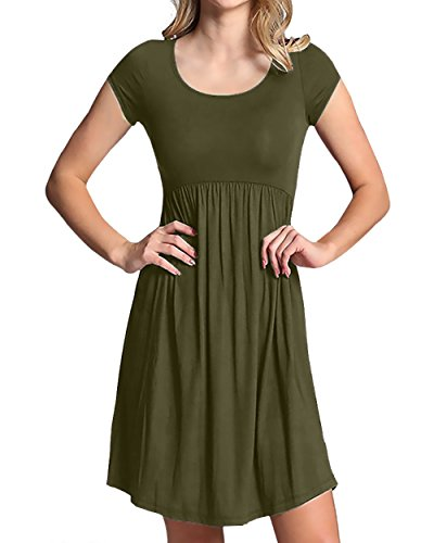 NICIAS Women's Plain Casual Round Collar Swing T-shirt Midi Dress Solid Color (X-Large, Army Green)