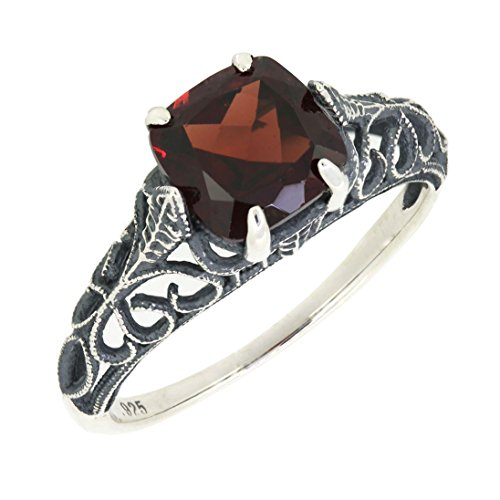 BL Jewelry Antique Finished Sterling Silver Cushion Cut Genuine Mozambique Garnet Filigree Ring (2 1/5 CT.T.W) ()