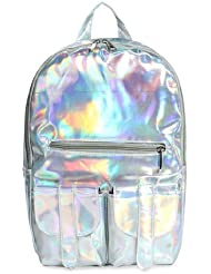 YOUR GALLERY Womens Reflective Mirror Surface Hologram Backpacks Causual Daypack,Silver