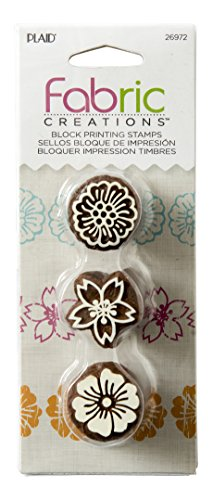 Fabric Creations Block Printing Stamps, 26972 Floral (3-Piece - Block Printing Stamps