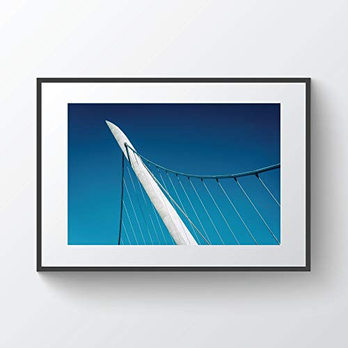 YourLoveLLC Wooden Frame Architectural Details of The Harbor Drive Pedestrian Bridge in San Diego California Photo Print Metal Framed Black Wood Frame for Wall