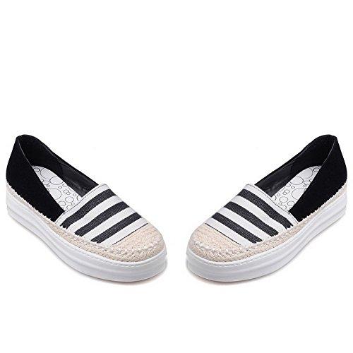 AllhqFashion Damen Blend-Materialien Niedriger Absatz Rund Zehe Gemischte Farbe Pumps Schuhe Schwarz