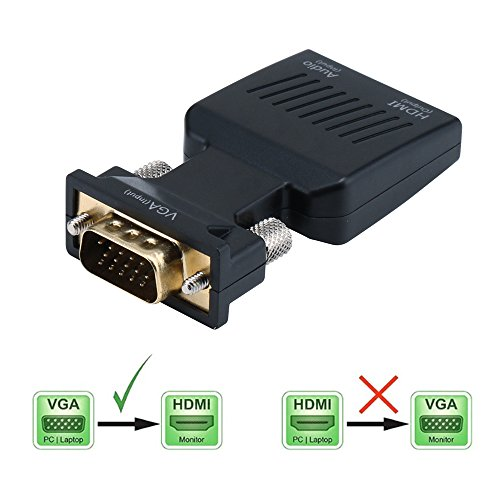 YYGJ VGA to HDMI Adapter with Audio VGA Male to HDMI Female Adapter to HDTV 1080P, Computer, Projector, Displayer,Portable Size with Plug and Play Black (VGA TO HDMI) by YYGJ (Image #1)