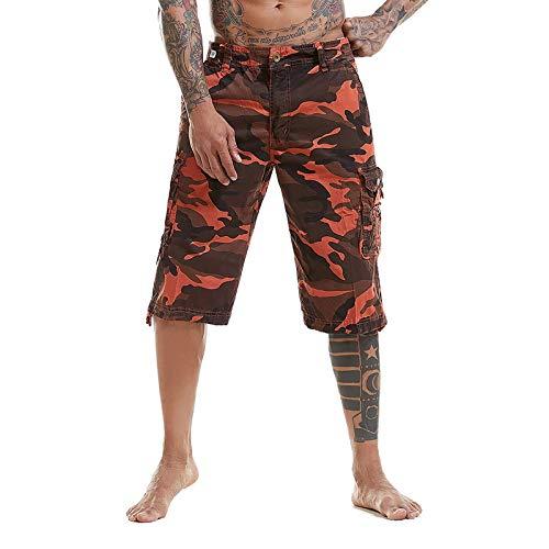 (OEAK Men's Outdoor Camouflage Multi Pockets Camo Cargo Shorts Orange Red 40)