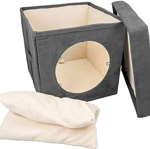 Cat Condo Pet Cube 15x15x15 Cat House Pet Bed Hideaway for Your Kitty s Privacy and Entertainment Durable, Washable, Easy to Clean Non-Toxic Cat Bed Large 8.5 Entry with Easy Carry Handle