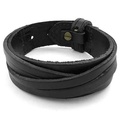 Adisaer Womens Mens Leather Bracelets Gold Plated Black 8.5Inch Length 22MM Width Bangle Bracelets (Dolce Gabbana Bracelets Gold)