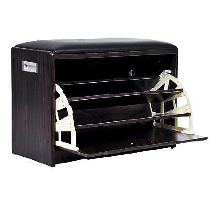 Homcom Wood Luxury Shoe Ottoman Storage Cabinet Box Chair Seat