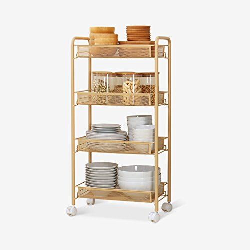 WAN SAN QIAN- Home Economy Kitchen Removable Shelf Bathroom Metal Rectangle Storage Shelf Wheel Diamond Basket Storage Car Light Yellow Shelf ( Size : 4 layers ) by Shelf