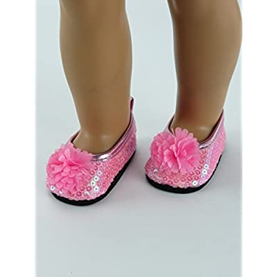 American Fashion World Pink Flowers & Sequins Flats fits 18 Inch Doll: Toys & Games