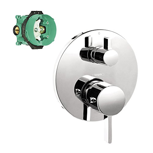 Hansgrohe K04231-01850CR S Thermostatic Trim with Volume Control and Diverter with Rough-In - Hansgrohe Trim Volume Control