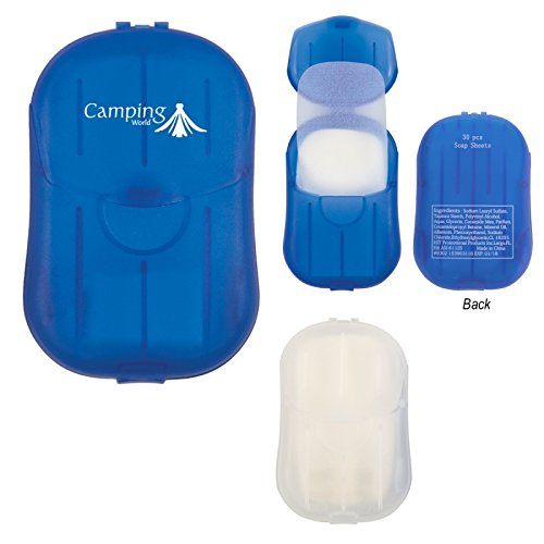 Hand Soap Sheets In Compact Travel Case - 250 Quantity - PROMOTIONAL PRODUCT / BULK / BRANDED with YOUR LOGO / CUSTOMIZED - Kineticpromos #9302 (Blue) by Kinetic