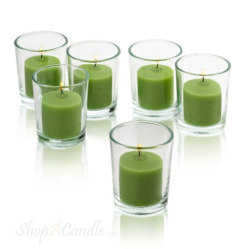 Clear Glass Round Votive Candle Holders With Lime Green voti