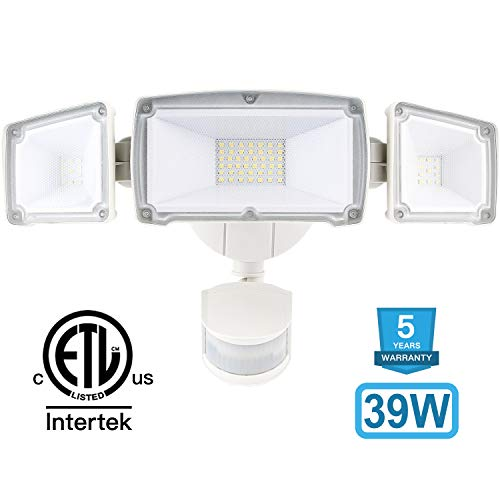 Amico 39W 3 Head LED Security-Lights Motion Outdoor, Motion Sensor Light Outdoor, 3500 Lumens 6000k Waterproof IP65 ETL, Motion-Sensor-Flood Light Exterior Security Light led