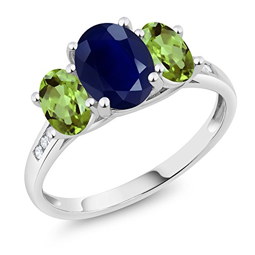 10K White Gold Diamond Accent Oval Blue Sapphire Green Peridot 3 Stone Ring 2.79 Ct, Available in size (5,6,7,8,9)