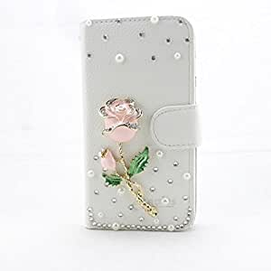 piaopiao fashion 3d bling leather wallet card flip stand Case Cover Skin For HTC Desire 610 (AT&T), HTC Desire 612 (Verizon) (rose pink)