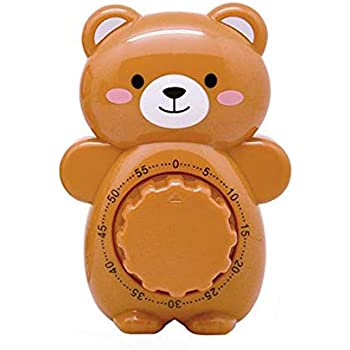 Fun Kitchen Timer, Caliamary Bear Mechanical Cute Kitchen Timers, Mini 55 Mins Animal Timer for Baking Cooking (Brown)