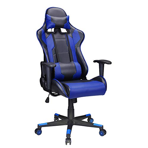 Polar Aurora Gaming Chair Racing Style High-Back PU Leather Office Chair Computer Desk Chair Executive Ergonomic Style Swivel Chair Headrest Lumbar Support (Blue) ()