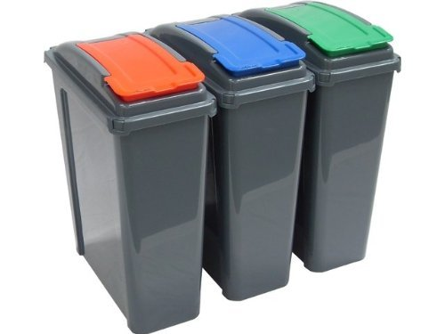 Set Of 3 25L Slimline Recycle Kitchen Waste Bin 25 Litre Plastic Storage Bins With Blue Green And Red Colour Lids By HotDeals-UK by Whatmore by HotDeals-UK by Whatmore by HotDeals-UK