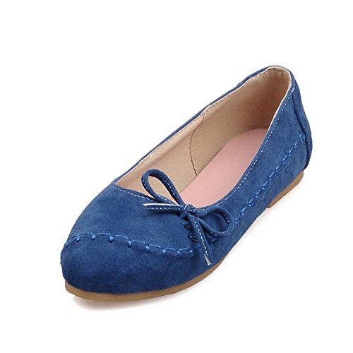 Weenfashion Damesschoen Solid Geen Hak Pull Op Ronde Gesloten Teen Flats-schoenen Met Strikjes Blauw