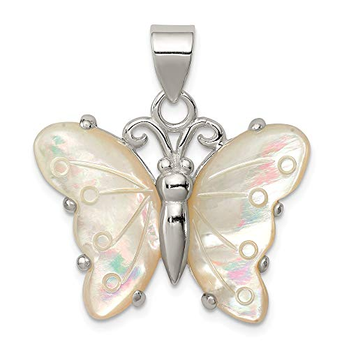 (Sterling Silver White Shell Butterfly Pendant)
