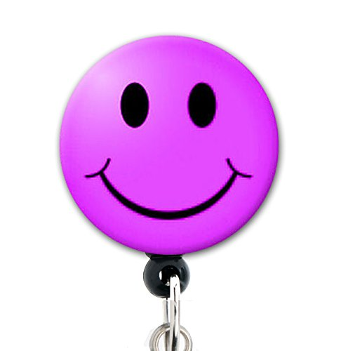 Smiley Face (purple) - Retractable Badge Reel With Belt Clip and Extra-Long 34 inch cord - Badge - Purple Smiley Face