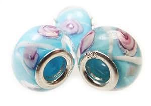 3 azul, blanco y rosa de plata de ley para pulsera de cristal cuentas. Compatible con/Troll/Pandora/Biagi/amore/BACI o cualquier otro tipo de 3 mm pulseras.