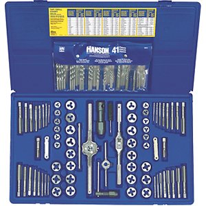 IRWIN Tap And Die Set with Drill Bits, Machine Screw/SAE/Metric, 117-Piece (26377) by Irwin Tools