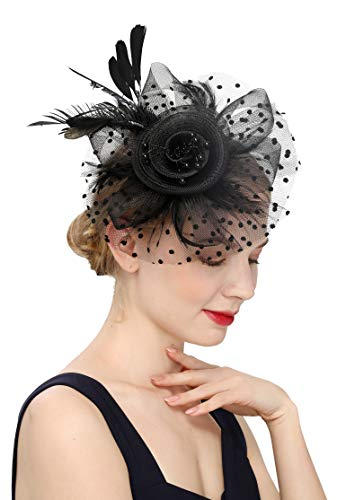 Czioe Flower Cocktail Tea Party Headwear Feather Fascinators Top Hat for Girls and Women (1-a-black)]()