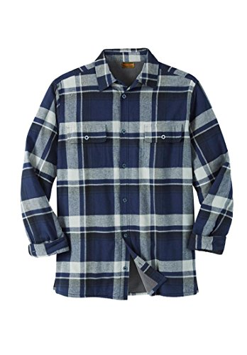 Boulder Creek Men's Big & Tall Fleece-Lined Flannel Shirt Jacket, Navy - Shirt Over Fleece