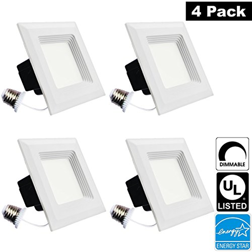 luxrite lr23039 4pack 15w 56 inch led square retrofit downlight 120w equivalent energy star dimmable bright white 5000k recessed led ceiling light - Square Recessed Lighting