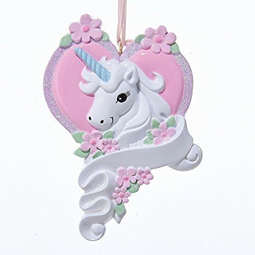 - Kurt Adler White Unicorn Horse with Pink Heart Christmas Ornament Holiday Decoration W8285