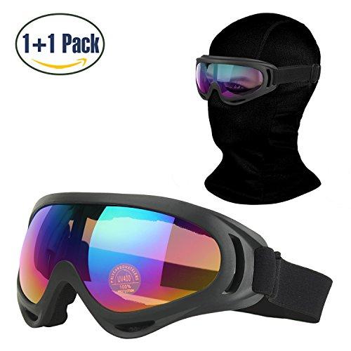 Balaclava & Ski Goggles Sets, Ultralight Balaclava Face Mask Windproof Ski Hood + UV400 Protection Anti-fog Ski Goggles for Cycling Biking Ski and Snowboard (black mask +black goggles(color lens))