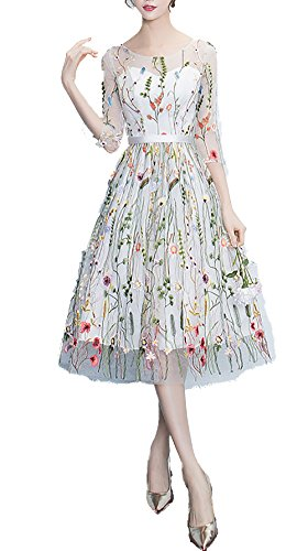 YSMei Knee-Length Embroidered Floral Lace Prom Homecoming Dresses Evening Party Gown White A 04