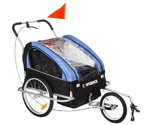 Confidence 2-in1 Double Baby/Child Bike Trailer / Jogger / S