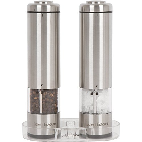 Latent Epicure Battery Operated Salt and Pepper Grinder Set (Pack of 2 Mills) - Complimentary Mill Rest   LED Light   Adjustable Coarseness  