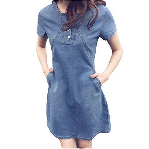Women Denim Dress, Plus Size Tunic Dress Short Sleeve Button Front Slim Fit t Shirt Dress Simple Loose Dress(Lght Blue, XL)
