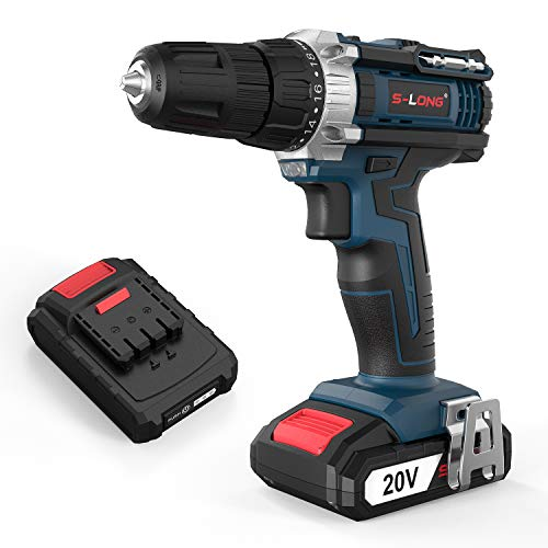 S-LONG 20V 3/8″ Cordless Drill Driver with Two 1.5Ah Lithium-Ion Batteries and Fast Charger Kit 2-Speed Max Torque 310 In-lbs 18+1 Position with LED
