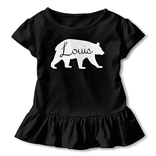 - Louis Bear Spirit Animal Silhouette Toddler/Infant Girls Short Sleeve T-Shirts Ruffles Shirt Tee Black