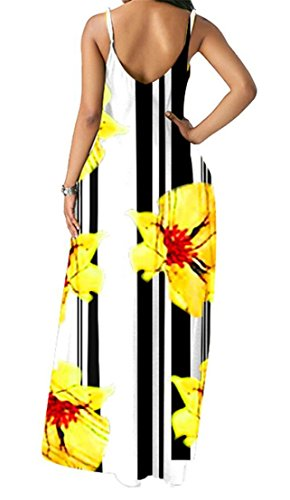 Swing Pockets Women Strap Spaghetti Print Party Domple Dress Cocktail Floral Yellow 1Pxq54wwB