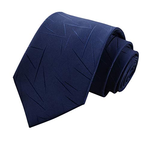 (Men's Classic Navy Blue Irregular Pattern Tie Silk Necktie + Gift)