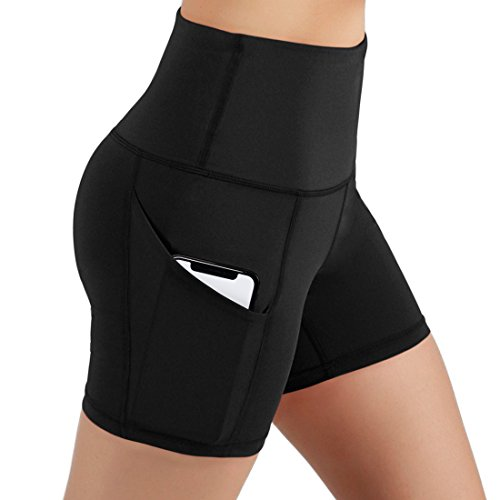LOVESOFT Women's Workout Cycling Running Volleyball Tights Yoga Shorts with Side Pockets (M) Black