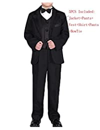 Shiny Toddler Boys' 5 Pieces Formal Suit for Special Occasion