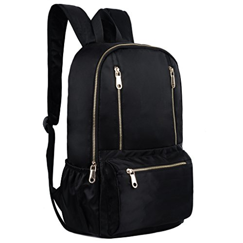 YALUXE Women's Multi Zipper Large Capacity Nylon Backpack Ladies Daypack School Bag