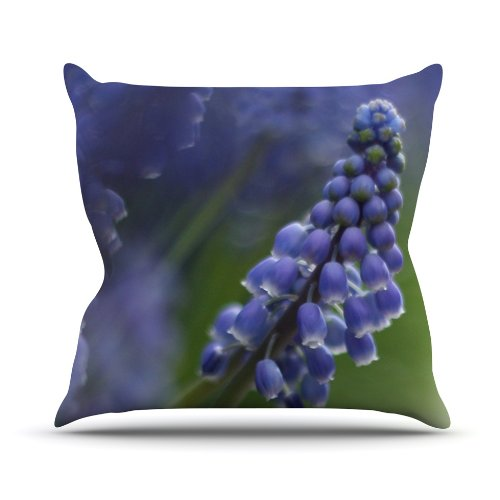 Hot Kess InHouse Angie Turner Grape Hyacinth Green Purple Outdoor Throw Pillow, 16 by 16-Inch