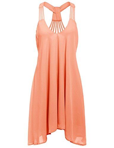ROMWE Women's Summer Sexy Sleeveless Strappy Swing Dress Orange S